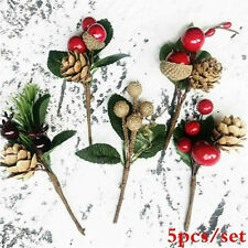 5Pcs Christmas Red Berry Pine Cone Branches  Holiday Greeting Card Decoration