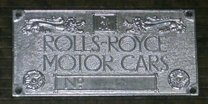 ROLLS-ROYCE MOTORS LIMITED CHASSIS PLATE, 1991
