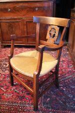 Fauteuil rustique Directoire à accotoirs concaves hêtre assise paillée armchair