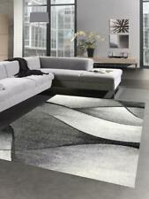 Tappeti Salotto con Design moderno a Onde in grigio antracite nero - molto resis