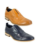 Men's Italian Couture Tan Brown & Navy Blue Slip on Loafer Leather Formal Shoes