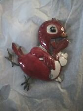 Chinese Export Silver & Color Enamel Clip/Hairpin of a Laughing Bird, c. 1920!