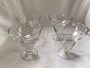 4 French Champagne Coupes Glasses Art Deco Vintage VERY COOL!