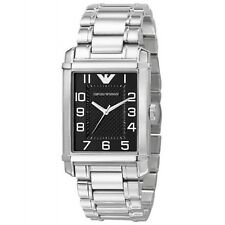 EMPORIO ARMANI CLASSIC SILVER TONE BAND+BLACK RECTANGLE DIAL WATCH AR0492+BOX