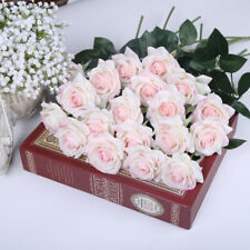 Blush Pink Roses Real Touch Light Pink Flowers Silk Latex Wedding Flowers 10 PCS