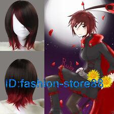 Peluca recta corta de Rubí Rojo Oscuro Marrón y sintéticas Anime Cosplay Peluca Peluca Cap/
