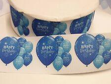 Cake Craft  RIBBON Decoration Birthday Cake - 50mm - HAPPY BIRTHDAY Blue -1m