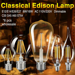 Dimmable Edison Filament LED Bulbs Chandelier Candle/Flame/Globe Light 6 Pcs 83