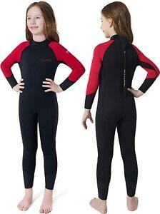 Dark Lightning Kid's Full Wetsuit Black/Red Size 10