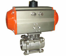 """HSH-Flo 3/4"""" 2 Way CF8 3-Piece Double Acting Pneumatic Actuated Ball Valve"""