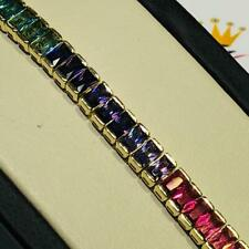 18k Yellow Gold Sterling Silver Emerald Cut Rainbow Sapphire Tennis Bracelet