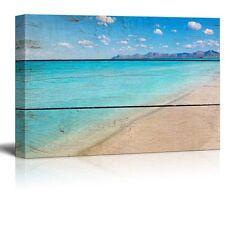 "Canvas Prints Wall Art - Tropical Beach on Vintage Wood Background - 12"" x 18"""