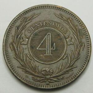 URUGUAY 4 Centesimos 1869 H - Bronze - VF - 3329