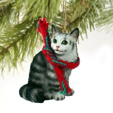 Maine Coon Cat Ornament Hand Painted resin Figurine Christmas Silver Gray kitty