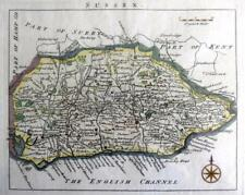 SUSSEX  BRIGHTON CHICHESTER HASTINGS  BY JOHN ROCQUE GENUINE ANTIQUE MAP  c1769