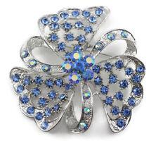 Exquisite Bridal Wedding Brooch Pin Blue Fancy Austrian Rhinestone Crystal