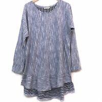 SOFT SURROUNDINGS Gauze Turin Tunic Blue Striped Long Sleeve 100% Cotton Large