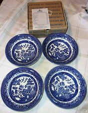 """4 Churchill of England Blue Willow 6"""" Fruit Cereal Bowls Mint in Orig. Box"""
