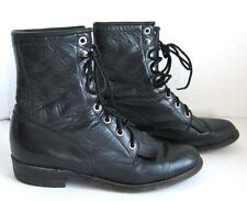 Justin Black Leather Lacer Kiltie Boots Western Granny Roper Women 6.5 A USA