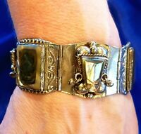 VintageTaxco Silver Tribal Abalone Warrior Face Articulated Panel Cuff Bracelet