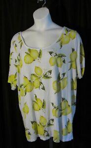 Lane Bryant 22/24 Yellow Lemons Knit Shirt Top