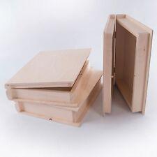 Unpainted Wooden Book Shaped  Box Case / Wood Trinket Storage Decoupage Craft