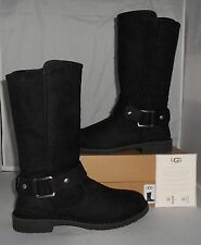UGG WOMEN'S BLACK NUBUCK LEATHER TALL SHANI BOOTS SIZE 11 NEW IN BOX