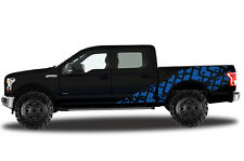 Vinyl Decal Wrap Kit TIRE TRACKS for Ford F-150 2015-2017 BLUE SuperCrew 5.5 Bed