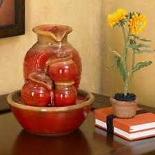 "Rustic Zen Indoor Tabletop Water Fountain 9"" Cascading Country Jar Table Desk"