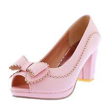 Elegant PUMPS Ankle Block Heel Platform PEEP Toe Shoes UK Sz 1 2 3 4 5 6 7 Pink UK 7.5 ( Size Tag CN 42)