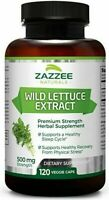 WILD LETTUCE Extract Capsules Support Sleep Pain Relief By Zazzee Naturals 120CT