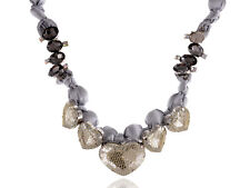 Grey Satin Fabric Wrapped Crystal Gem Big Heart Mesh Overlay Ribbon Tie Necklace