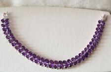 Ross Simons Sterling silver Purple Amethyst 2 row Tennis Bracelet