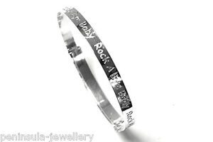 Sterling Silver Christening Bangle Rock a Bye Baby Gift boxed Made in UK