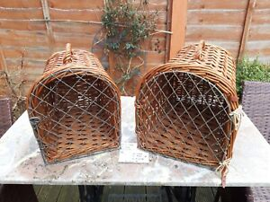 A pair Vintage Wicker Wooden CatSmall Dog Basket Carrier Vet Cage Bed