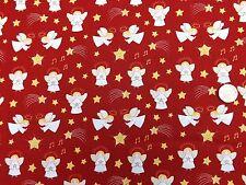 ANGELI DI NATALE IN TESSUTO ROSSO FQ 50x56 cm Lewis & IRENE chr10-3 100% COTONE