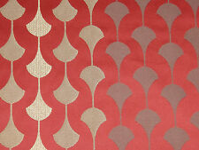 "SANDERSON CURTAIN FABRIC DESIGN ""Charleston"" 12 METRES RED AND GOLD WEAVE"