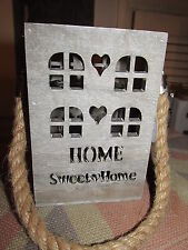Rustic Hanging Wooden House Candle Lantern With Rope Handle Home Sweet Home