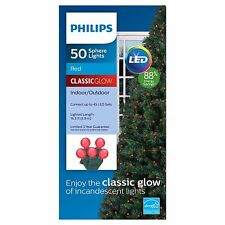 New Philips 50 ct LED Smooth Sphere String Lights Red Classic Glow Green Wire
