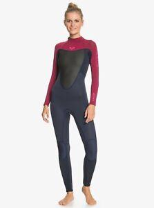 Roxy Prologue 3/2mm Back Zip Wetsuit - Women's - 14 / Dark Navy/Burgundy (XBBR)