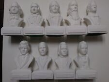 NEW! Set of 9 Composer Heads PORCELAIN Statuettes Busts  FREE SHIPPING