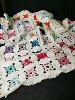 "Vintage hand crochet granny square floral baby blanket. 52""×42""  Vibrant colors!"