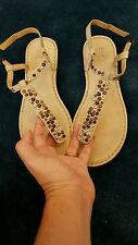 FRYE STUDDED SANDALS IVORY LEATHER T-STRAP, ADJUSTABLE ANKLE
