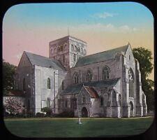 Glass Magic Lantern Slide CHURCH OF ST CROSS WINCHESTER C1890 VICTORIAN PHOTO