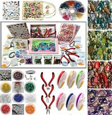 Adults Deluxe Jewelry Making Beads Mix Pliers Findings Starter Kit Gift Set New