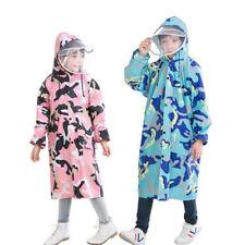 Boys Girls Kids Children Rainwear Hooded Poncho Thick Cape Raincoat Suit S3-18Y