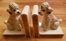 Vintage Lefton Pair of Ceramic Poodle Bookends H4837 White & Gold Hard to find!