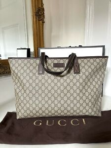 100% AUTHENTIC Gucci Brown GG Supreme Canvas & Leather Tote Shoulder Leather Bag