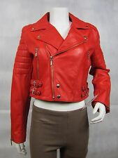 Ladies Red Napa Leather Slim Tight Fitted Short Biker Fashions Jacket Bike