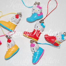 6 Hello Kitty Shoe Phone Charms for Kandi Rave Party Favor Pony Bead pendants